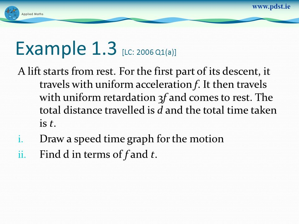 Example 1.3 [LC: 2006 Q1(a)]